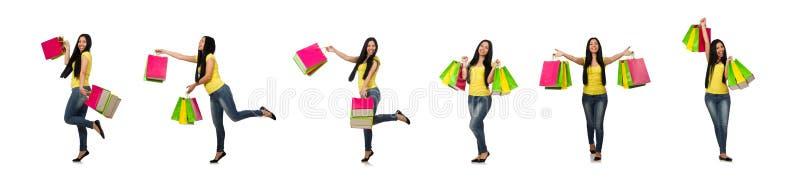 La mujer con los panieres aislados en blanco imágenes de archivo libres de regalías