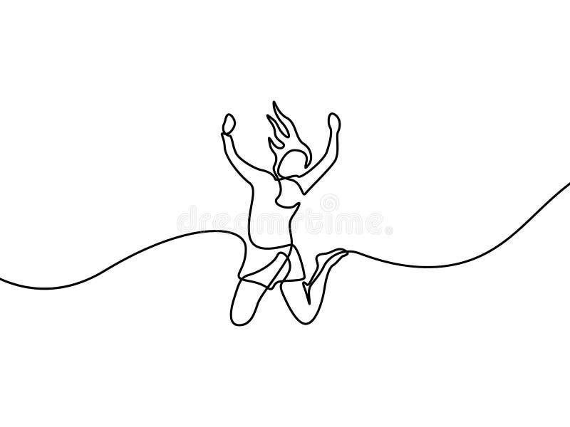 La mujer continua del dibujo lineal salta para feliz Ilustraci?n del vector stock de ilustración