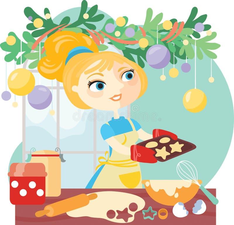 La mujer cuece las galletas de la Navidad libre illustration