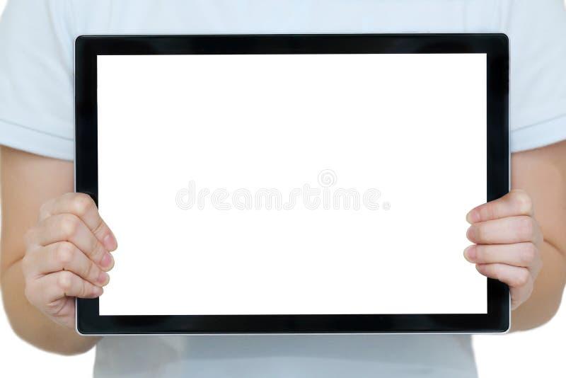 La mujer da sostener una tableta con el espacio en blanco de la copia foto de archivo libre de regalías