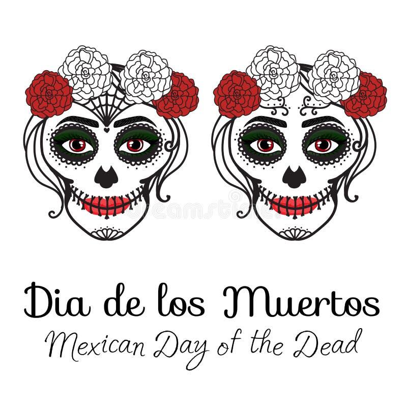La mujer de Catrina con compone del cráneo del azúcar Dia De Los Muertos Día mexicano de los muertos Dibujo de la mano del ejempl libre illustration