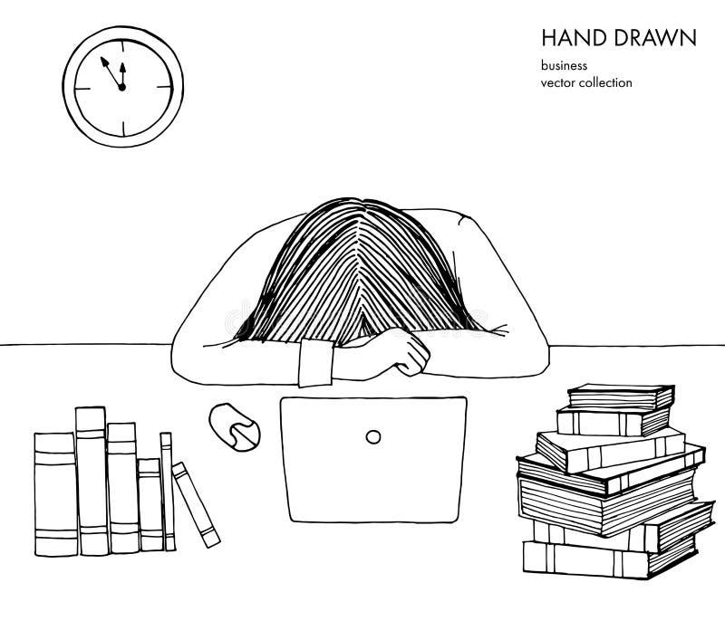 La mujer de la chica joven puso su cabeza abajo en la tabla Frustrado, agotado, soñoliento, cansado de trabajo Ordenador portátil ilustración del vector