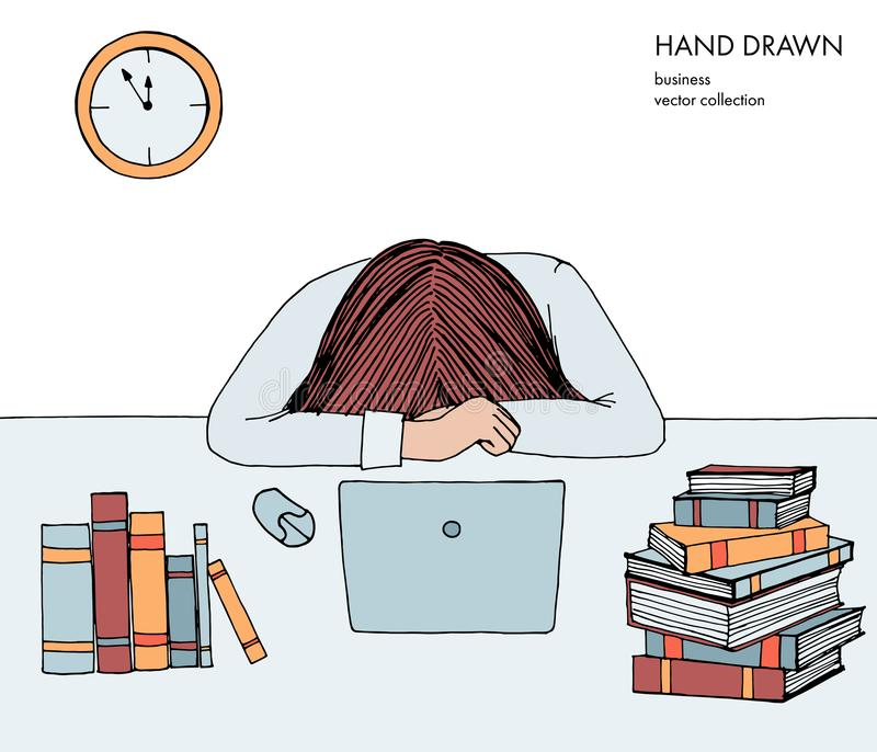 La mujer de la chica joven puso su cabeza abajo en la tabla Frustrado, agotado, soñoliento, cansado de trabajo Ordenador portátil libre illustration
