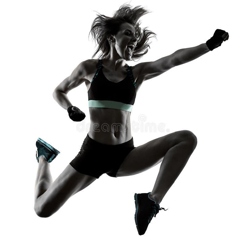La mujer de encajonamiento cardiia de los aer?bicos del ejercicio de la aptitud del entrenamiento aisl? fotos de archivo libres de regalías