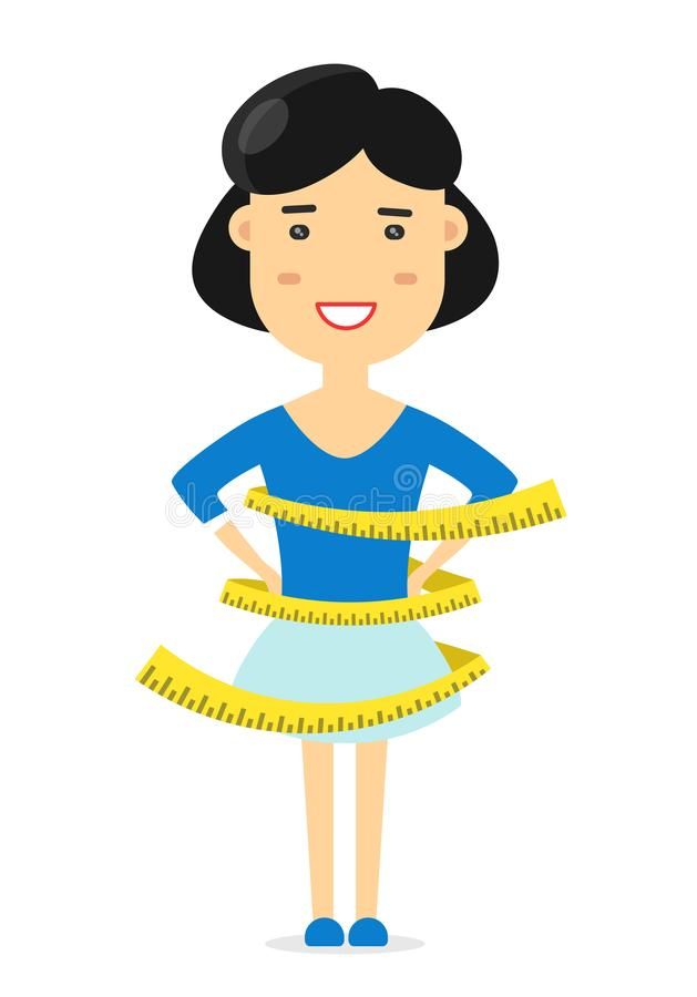 La mujer de la estructura atlética mide centímetro stock de ilustración
