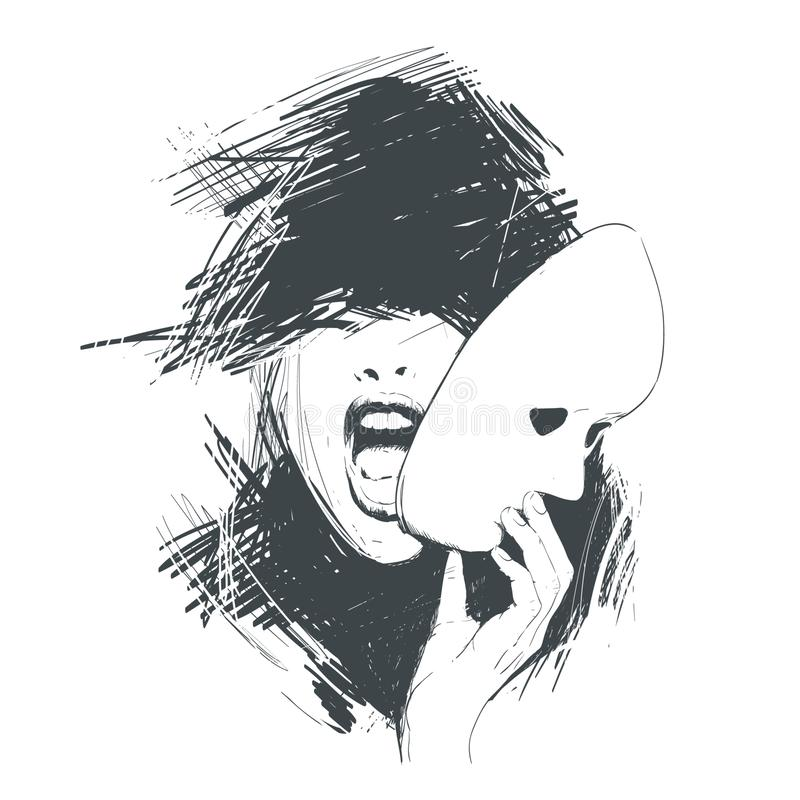 La mujer de griterío quita la máscara de la cara Abstracción, bosquejo ilustración del vector