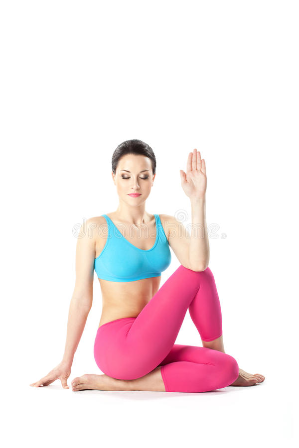 La mujer de la yoga fotos de archivo