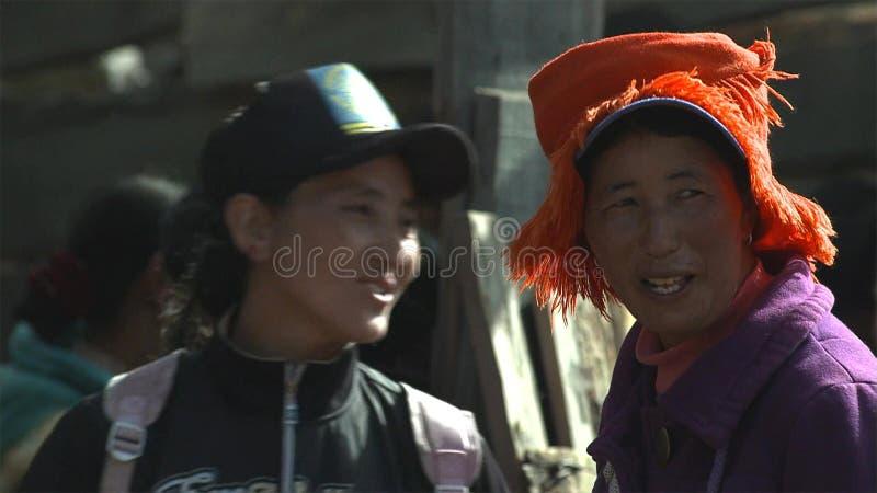 La mujer de los tibetanos en el pueblo de Jidi, se sienta en el centro del área de la producción del matsutake en Shangri-La yunn imagen de archivo