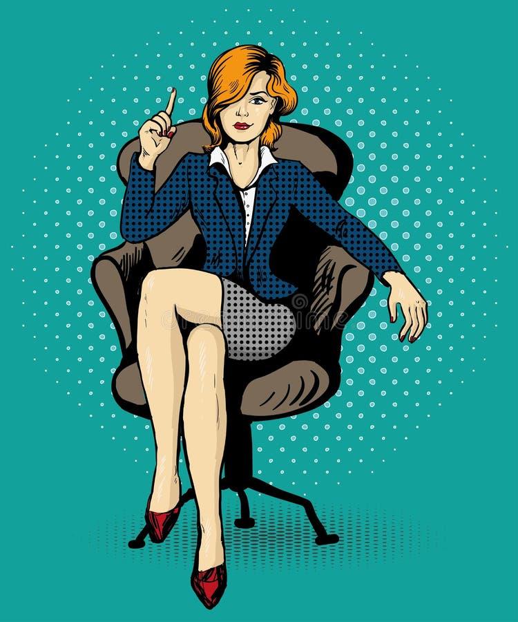 La mujer de negocios acertada se sienta en el ejemplo del vector de la silla en estilo cómico del arte pop libre illustration