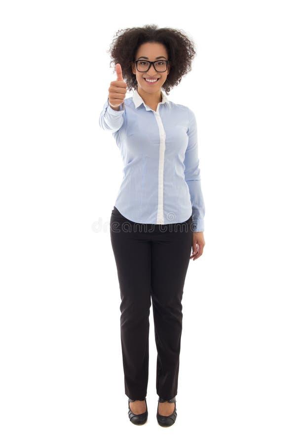 La mujer de negocios afroamericana feliz manosea con los dedos para arriba aislado en pizca fotografía de archivo libre de regalías