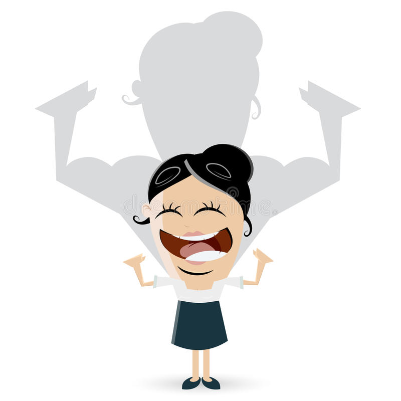La mujer de negocios asiática está mostrando sus músculos ilustración del vector