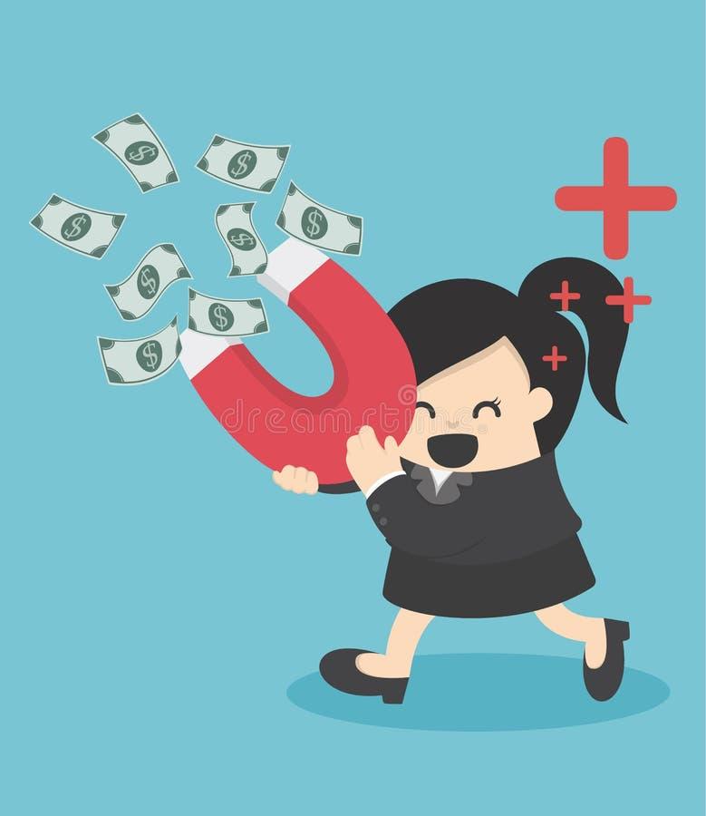 La mujer de negocios atrae el dinero con un ejemplo grande del imán libre illustration