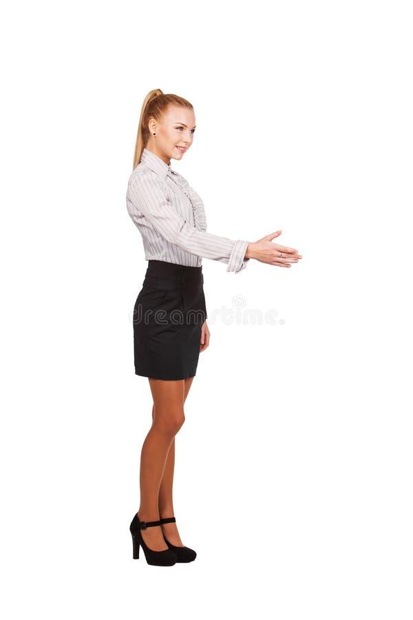 La Mujer De Negocios Con La Mano Extendi Para Un Apret N