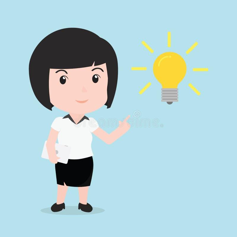 La mujer de negocios consigue a algo la idea, historieta libre illustration