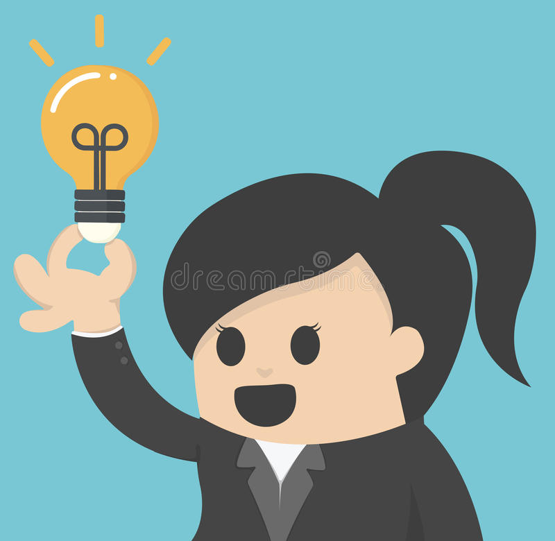 La mujer de negocios consigue la idea ilustración del vector