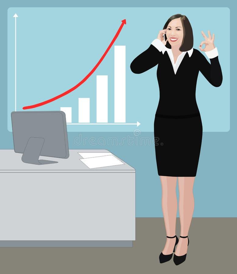 La mujer de negocios del éxito muestra la muestra aceptable ilustración del vector