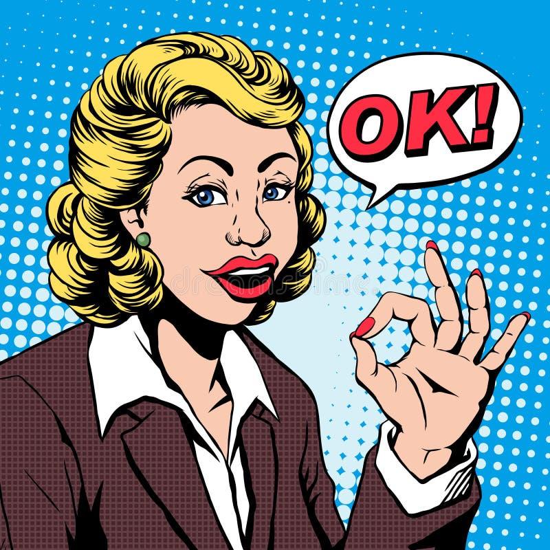 La mujer de negocios dice MUY BIEN ilustración del vector