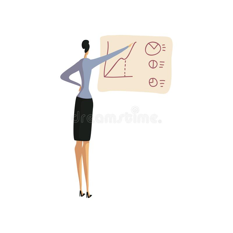 La mujer de negocios en una falda dibuja un gr?fico en el tablero Ilustraci?n del vector libre illustration