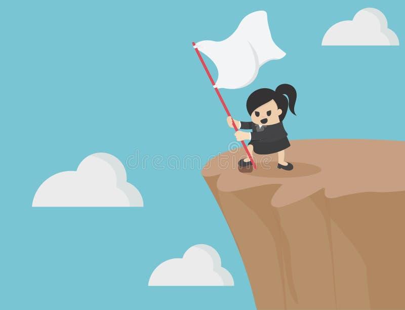 La mujer de negocios femenina sostiene una bandera blanca en una demostración escarpada de la colina ilustración del vector