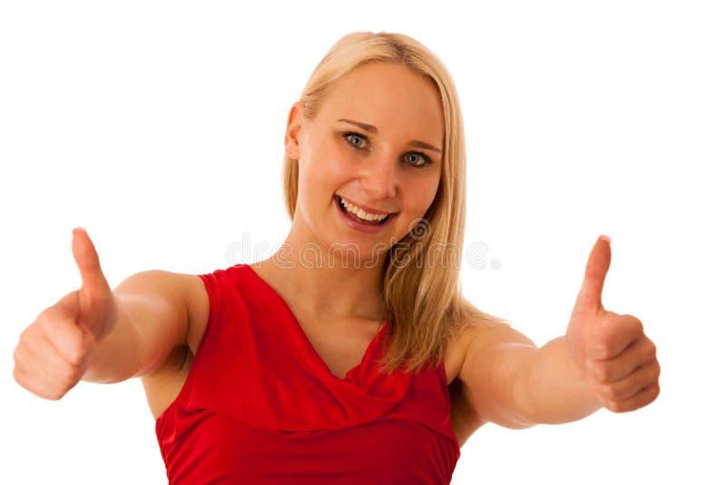 La mujer de negocios gesticula éxito con los pulgares para arriba imagenes de archivo