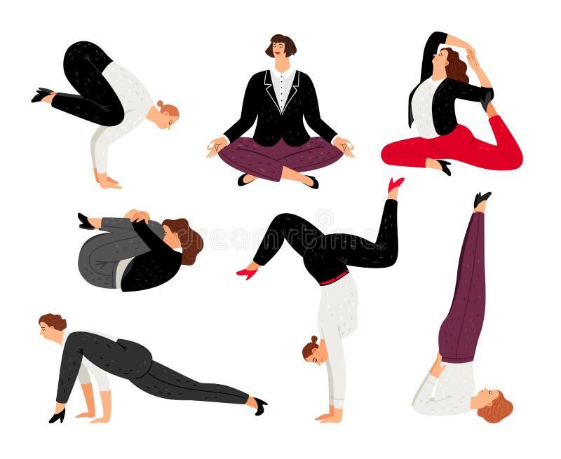 La mujer de negocios hace actitud de la yoga, se relaja y meditación libre illustration