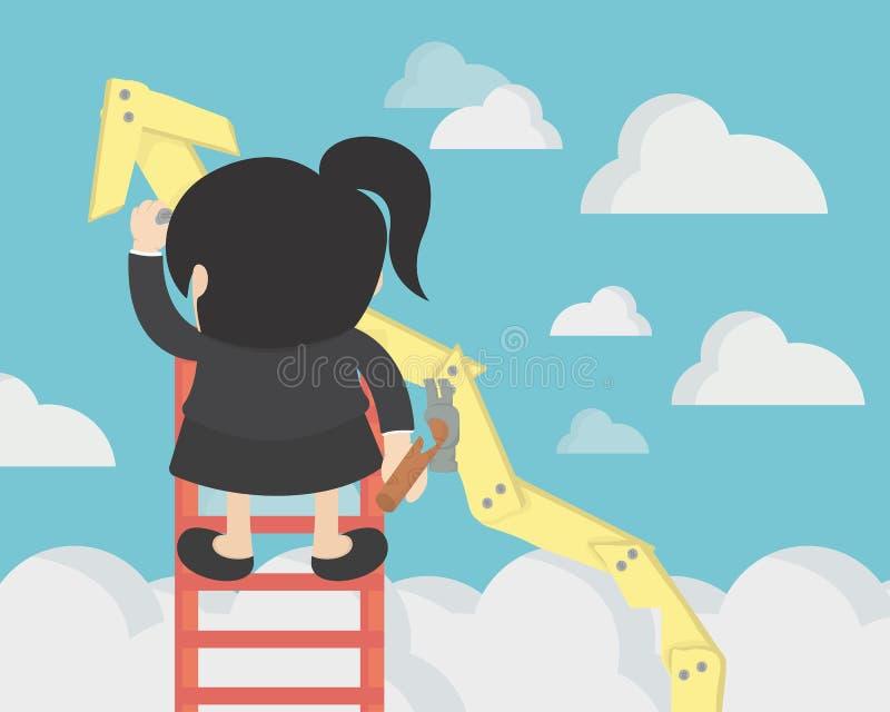 La mujer de negocios hace crecimiento stock de ilustración