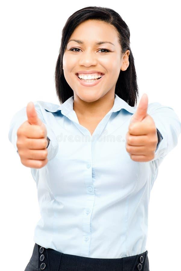 La mujer de negocios hispánica feliz manosea con los dedos para arriba aislado en el backgr blanco fotografía de archivo