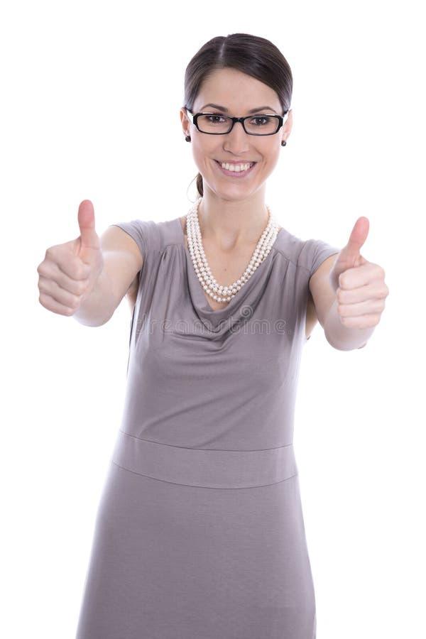 La mujer de negocios joven acertada manosea con los dedos para arriba - aislado en blanco. imagenes de archivo
