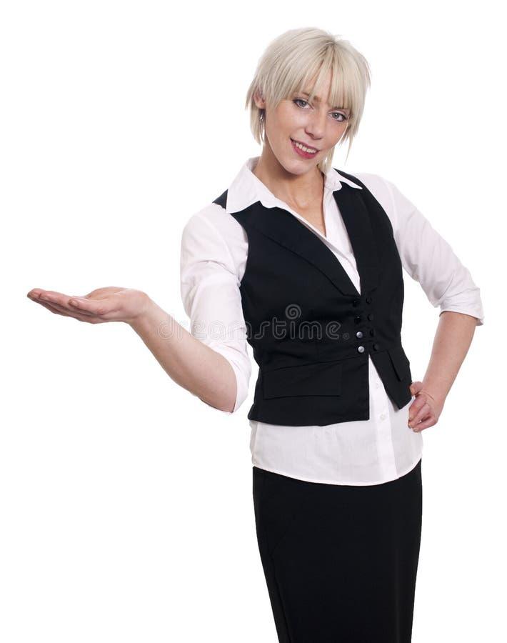 La mujer de negocios joven, reparte, palma para arriba imagenes de archivo