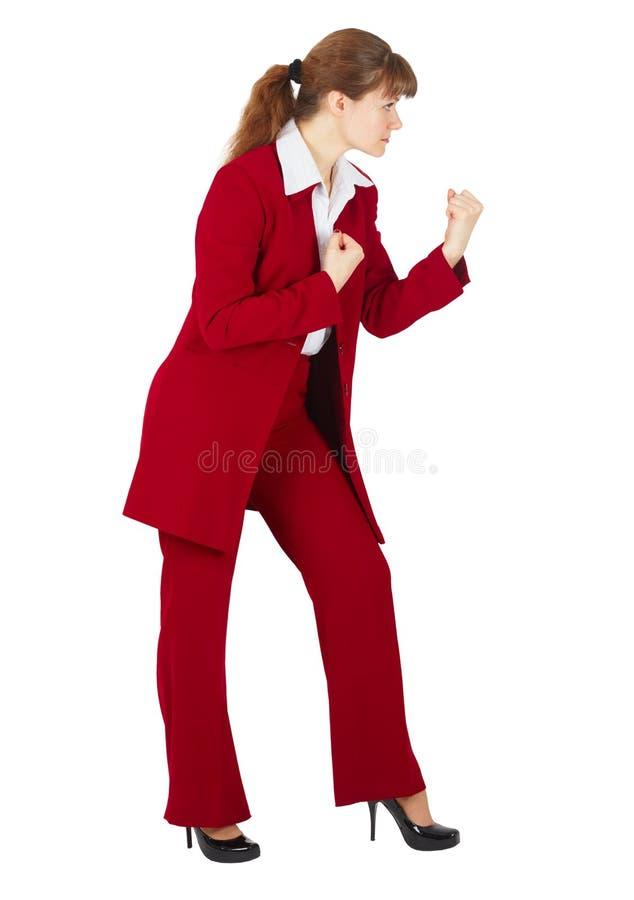 La mujer de negocios lista para luchar aisló en blanco imágenes de archivo libres de regalías