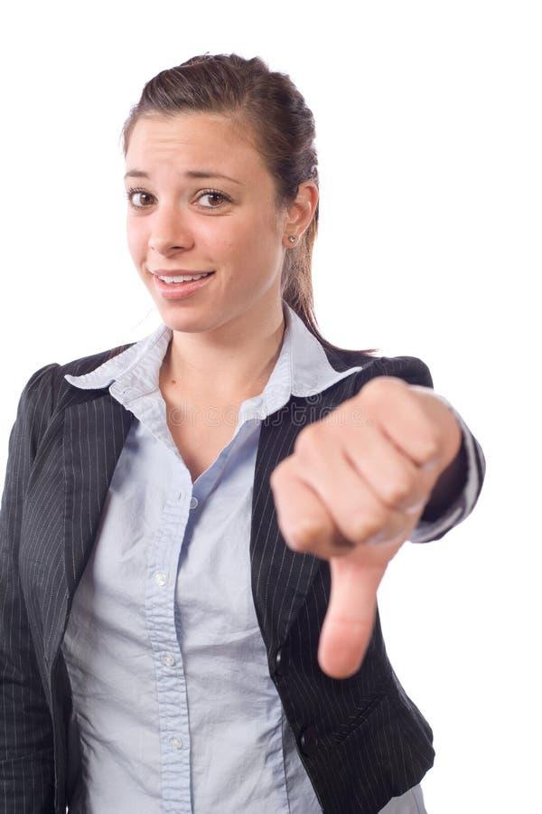 La mujer de negocios manosea con los dedos abajo imagenes de archivo