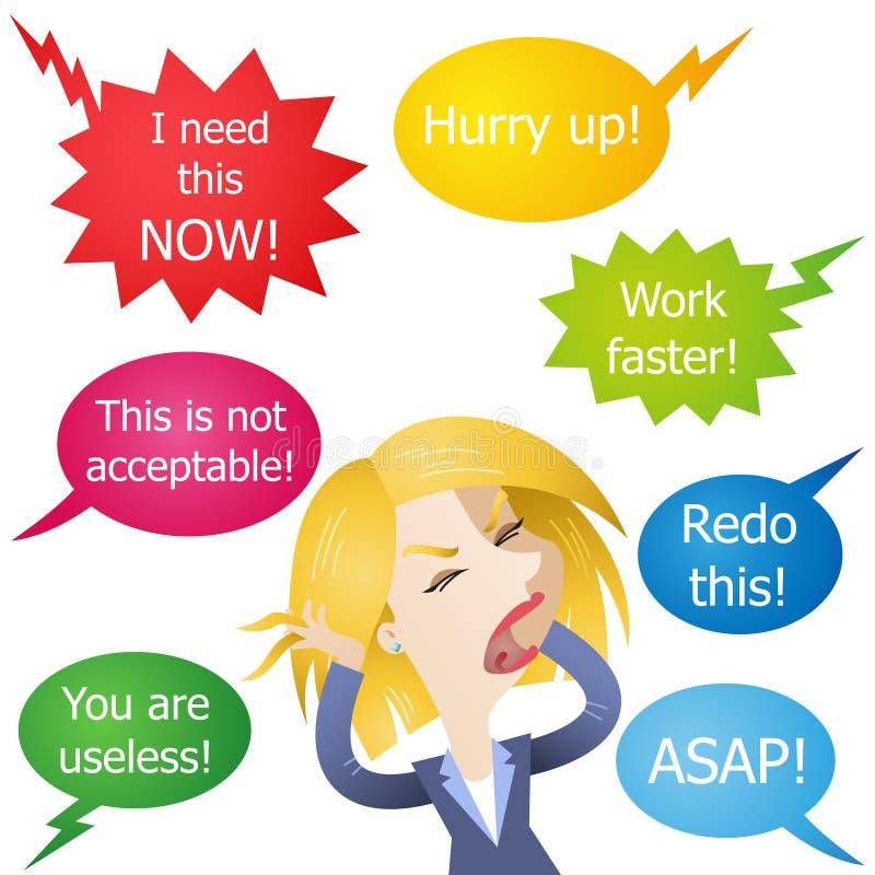 La mujer de negocios molestó subrayado gritado en ilustración del vector