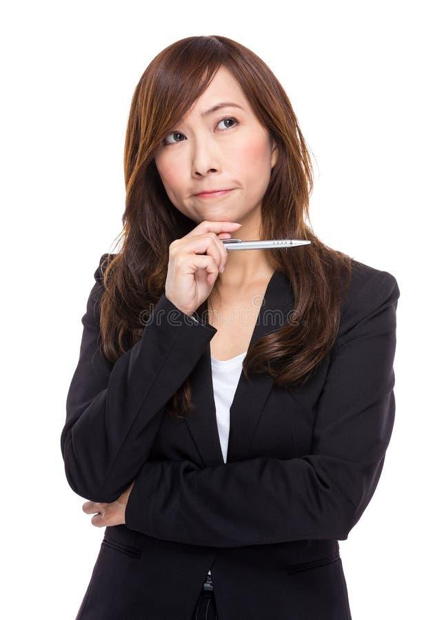 Download La Mujer De Negocios Piensa En Idea Imagen de archivo - Imagen de edad, businesswoman: 42442281
