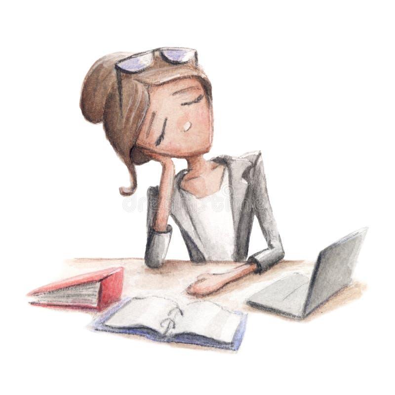 La mujer de negocios se cayó dormido en su escritorio libre illustration
