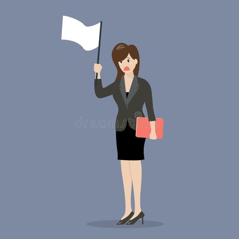 La mujer de negocios sostiene la bandera blanca de la entrega stock de ilustración