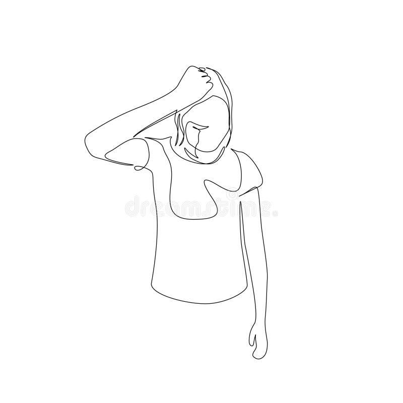 La mujer de una línea continua aprieta el cabello de la cabeza con la mano Estrés y depresión Ilustración del vector stock de ilustración