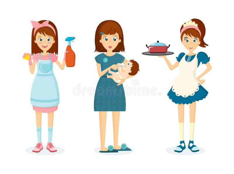 La mujer del ama de casa quita el polvo, alimentaciones del niño, prepara la comida libre illustration