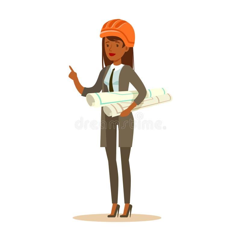 La mujer del arquitecto en el casco de seguridad anaranjado que coloca y que lleva a cabo proyecto blueprints los rollos, vector  stock de ilustración