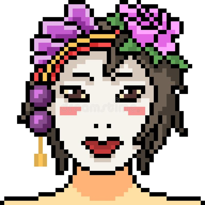 La mujer del arte del pixel del vector compone la suposición libre illustration