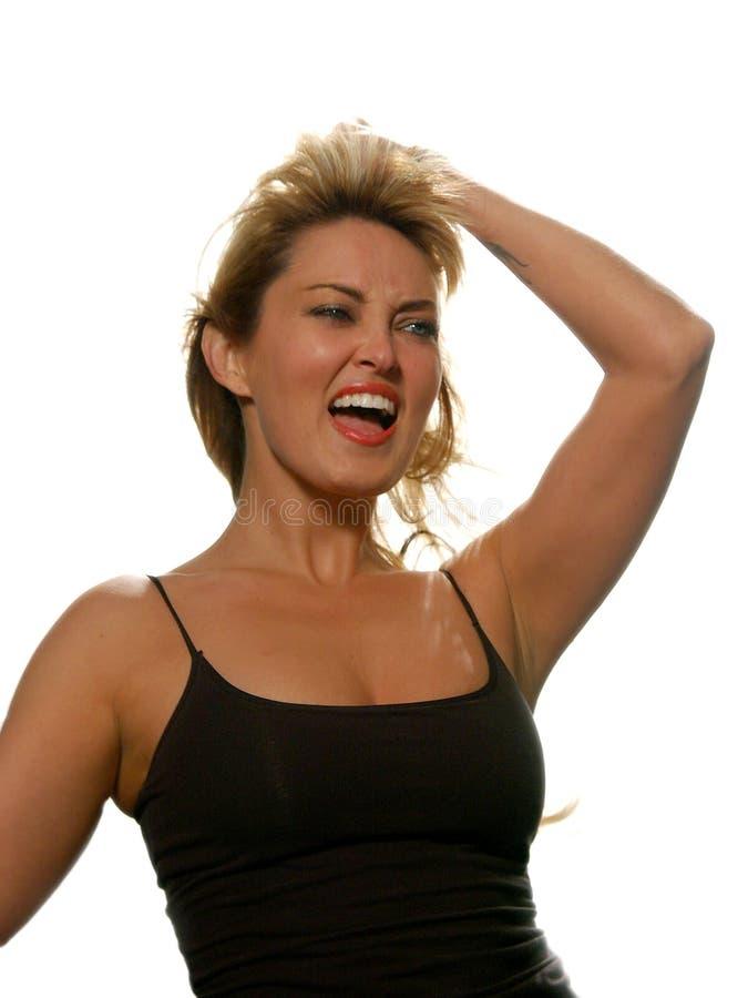 La mujer del baile canta/grita foto de archivo