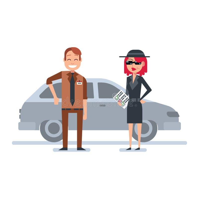 La mujer del comprador del misterio en capa del espía comprueba al concesionario de coches libre illustration