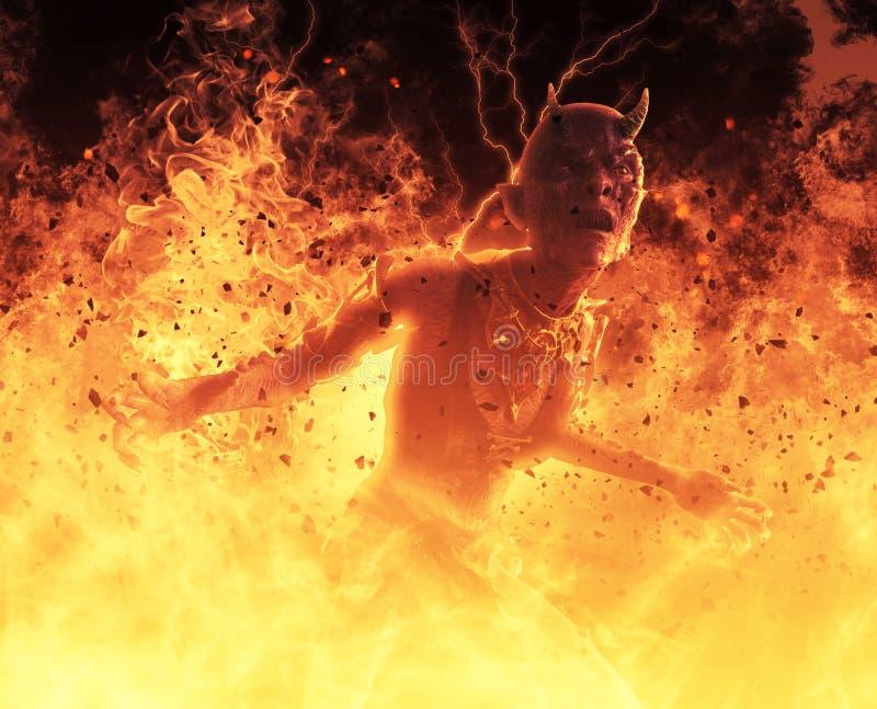la mujer del demonio del ejemplo 3D quema en un Hellfire stock de ilustración