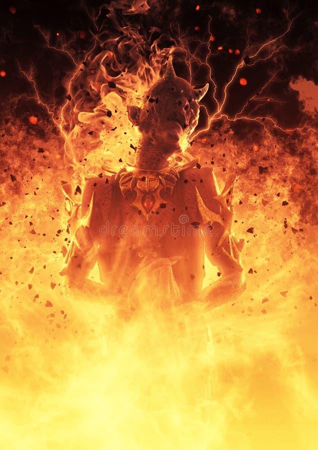 la mujer del demonio del ejemplo 3D quema en un Hellfire ilustración del vector