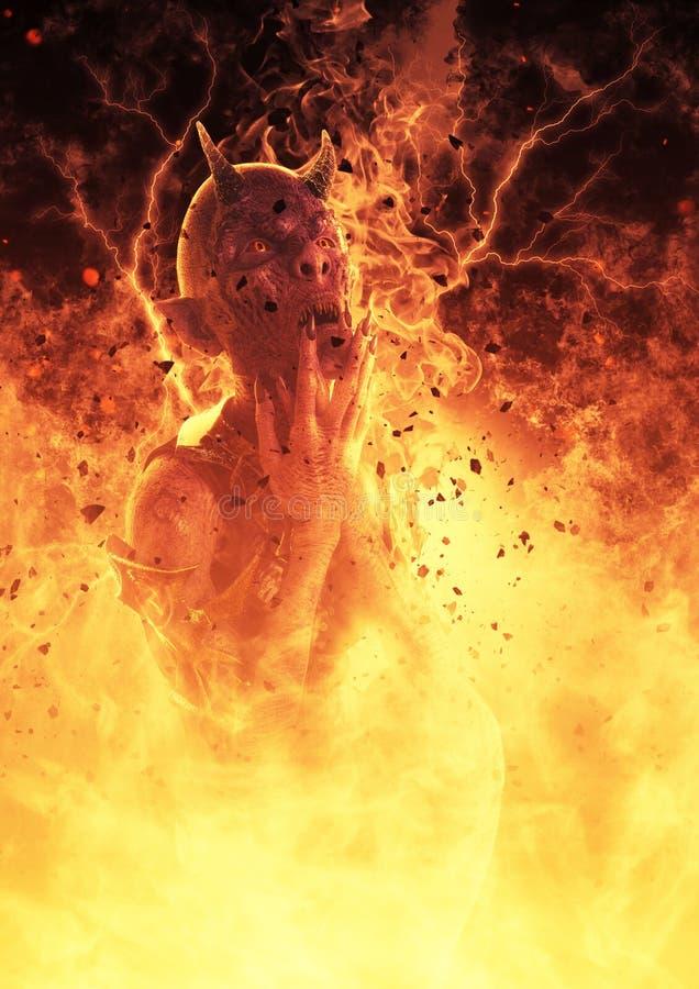 la mujer del demonio del ejemplo 3D quema en un Hellfire libre illustration