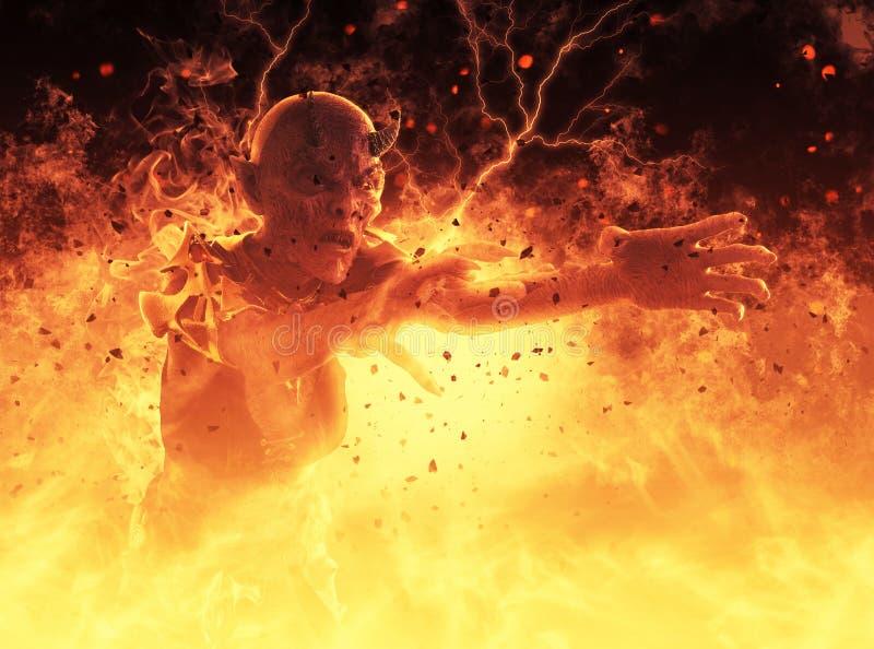 La mujer del demonio quema en un ejemplo del hellfire 3d libre illustration