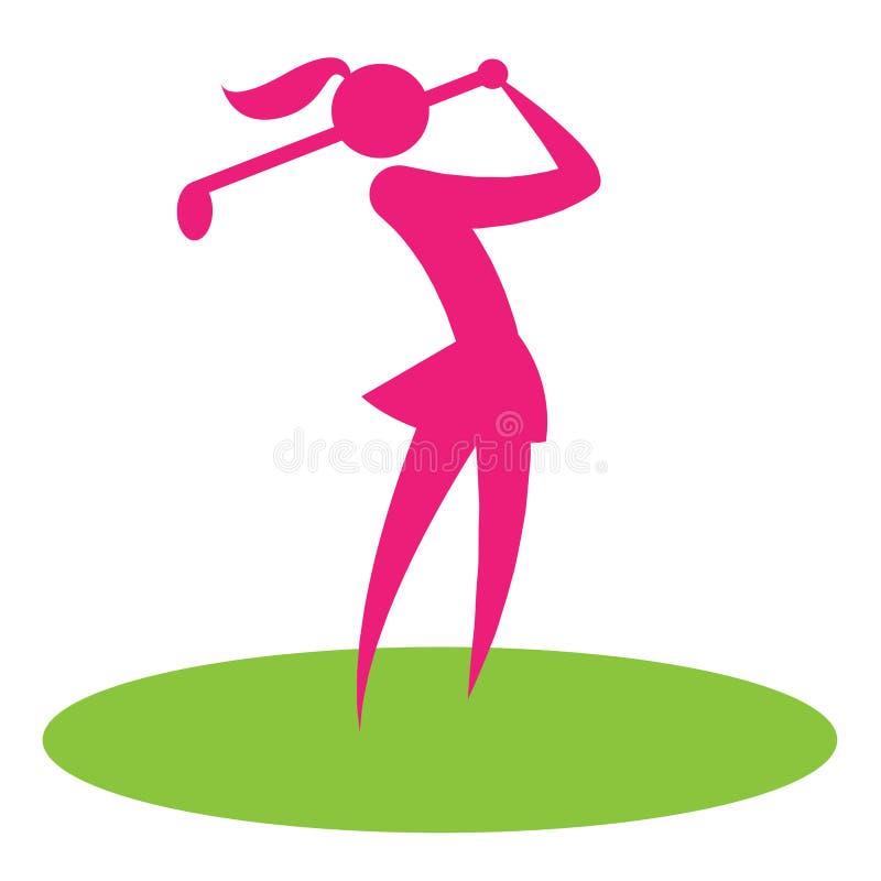 La mujer del oscilación del golf muestra el jugador femenino y la afición libre illustration