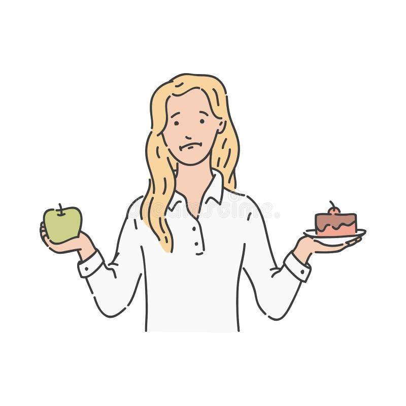 La mujer del vector hace choise la tarta de manzanas verde libre illustration