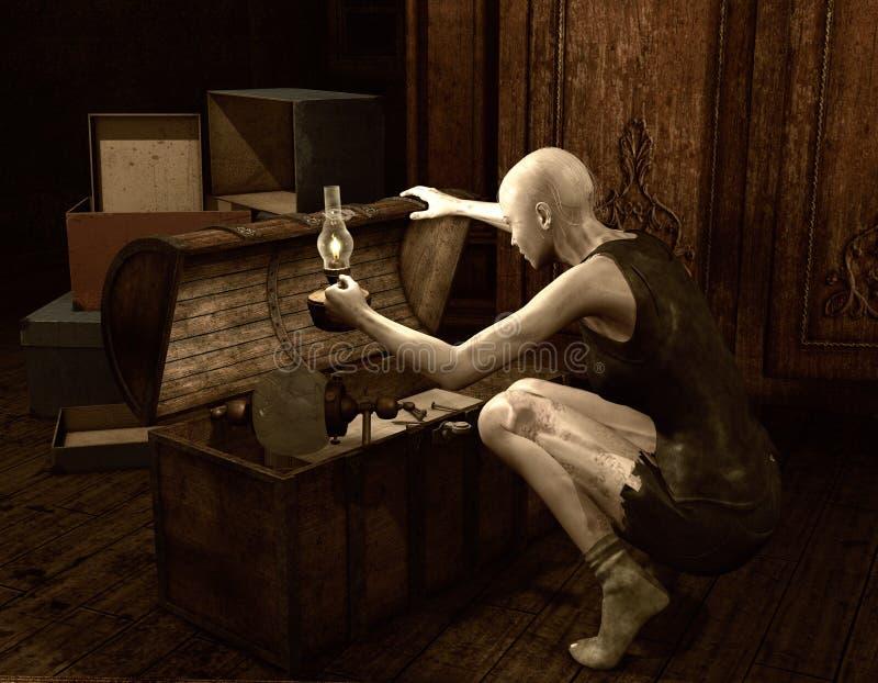 La mujer del zombi abre un pecho viejo stock de ilustración