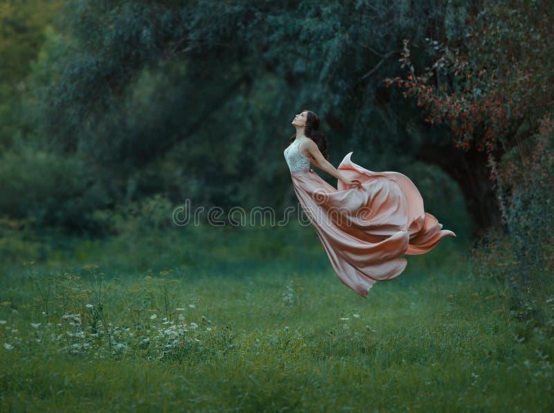 La mujer delgada joven con el pelo oscuro y el pelo aseado vistió el vestido lujoso largo del vuelo que agitaba para arriba en el foto de archivo