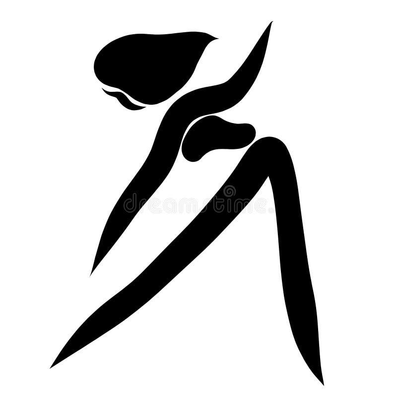 La mujer delgada realiza los ejercicios simples del deporte, silueta ilustración del vector